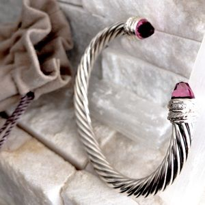 Auth David Yurman 7mm Pink Tourmaline & Diamonds